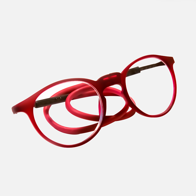 rode ronde flexibele magneetbril