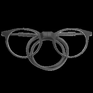 grijze ronde flexibele magneetbril